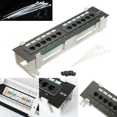 CAT5e Pro RJ45 Network Mini Patch Panel Wall Mount Rack Surface Bracket 12 Port