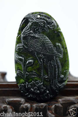 100% China's natural  jade nephrite carving black jade pendant Rooster 金鸡独立
