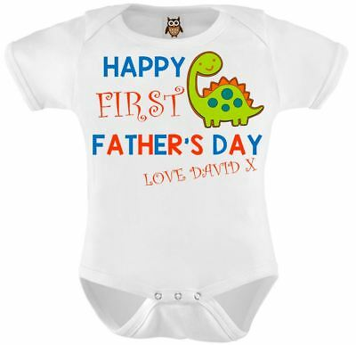 Personalised Baby Vest Bodysuit Happy First Fathers Day Gift Cute Baby Gift Blue