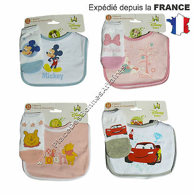 Bavoir et chausettes Winnie l'Ourson, Minnie, Mickey ou Cars en Coton