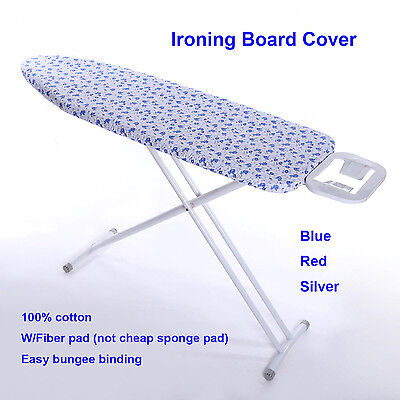 """15''x 48"""" Cotton Ironing Board Cover W/4MM Fiber Pad RED/BLUE/SILVER"""