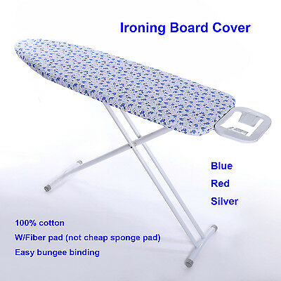 "15''x 48"" Cotton Ironing Board Cover W/4MM Fiber Pad RED/BLUE/SILVER"