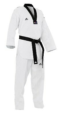 New adidas Taekwondo Uniform ADI-CLUB TKD Dobok Set-White,Black,Poom V-Neck