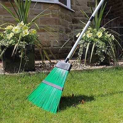Strong Plastic Garden Broom Rake. With Extendable Handle Ideal 4 Garden Cleaning