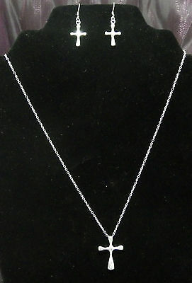 New 925 Sterling Silver Smooth Cross Necklace & Dangle Earring Set