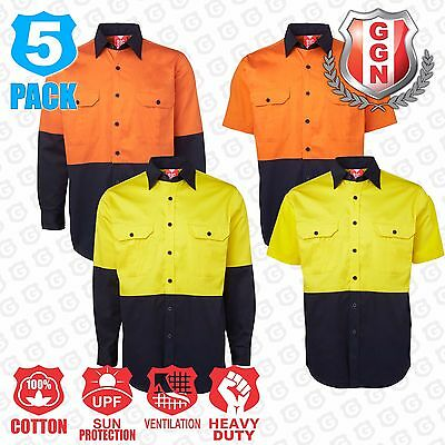 5x COTTON DRILL HI VIS WORK SHIRTS SAFETY, ARM & BACK VENTS, LONG SHORT SLEEVE