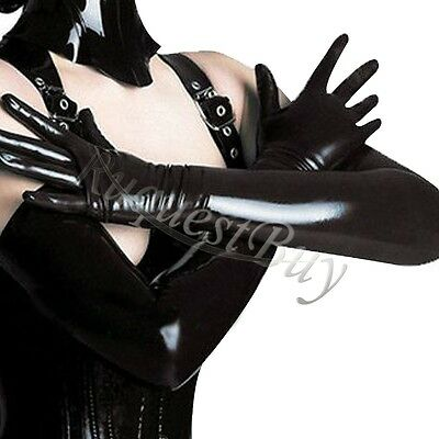 Womens Ladies Long Gloves Faux Leather Adult Wet Look Latex Party Opera Costumes