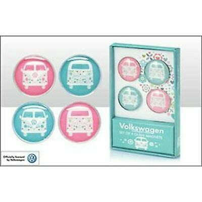 Official Volkswagen Set Of 4 Glass Magnets, Floral Campervan Design