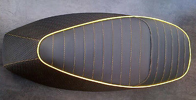 To Fit Vespa Gts 125/250 Custom Seat Cover Yellow Piping