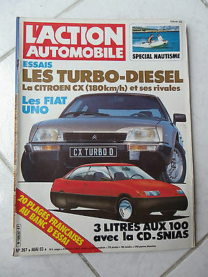 Magazine Action Automobile n°267 Fiat Uno Citroen CX Turbo Diesel Peugeot 505