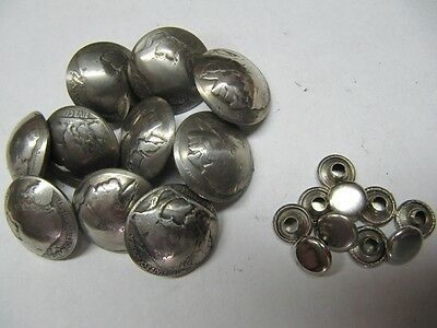 Original 5C Buffalo Nickel Coin 3/8'' Rivet Cap Conchos Handmade 10 Sets Lot!