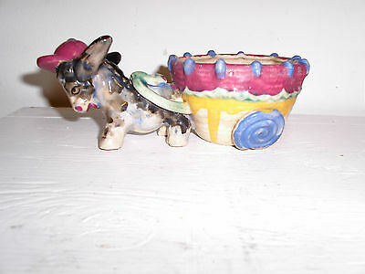CERAMIC ART POTTERY PIECE DONKEY WITH CART 8INCHES LONG 4INCHES WIDE