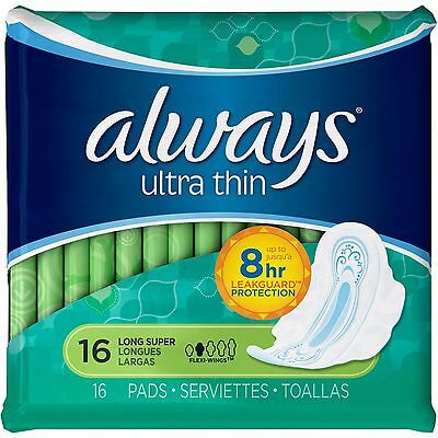 Always Ultra Thin Long Super Pads with Flexi-Wings, 16 count