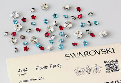 Genuine SWAROVSKI 4744 Flower Crystals Foiled Fancy Stones * All Colors & Sizes