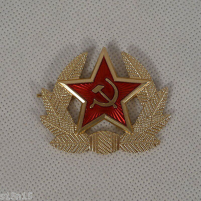 SOLDIER BADGE INSIGNIA COCKADE with RED STAR SOVIET RED ARMY