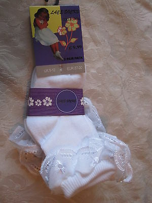 Bnwt - 6 Pairs White Lace Top Socks - Sizes 9-12 - Free Post To Uk