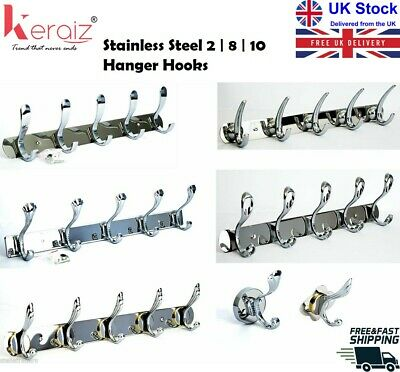 Heavy Duty Stainless Steel Coat Robe Clothes Towel Hooks Wall Hanger Rack