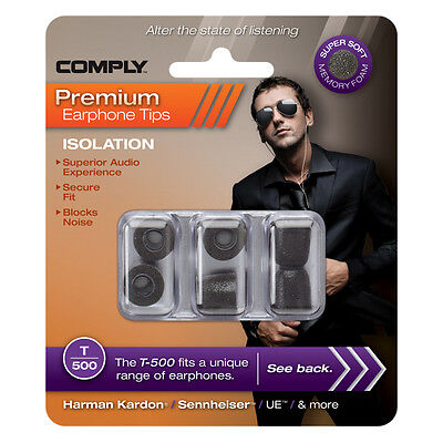 Comply Foam Ear Tips Isolation T-500 - 3 Pairs - Official UK distributor