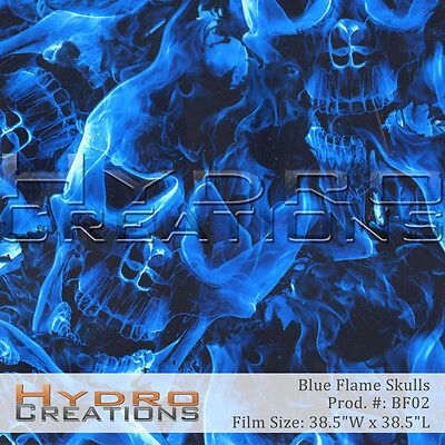 """HYDROGRAPHIC FILM HYDRO DIPPING WATER TRANSFER BLUE FLAME SKULLS (38.5"""" x 38.5"""")"""