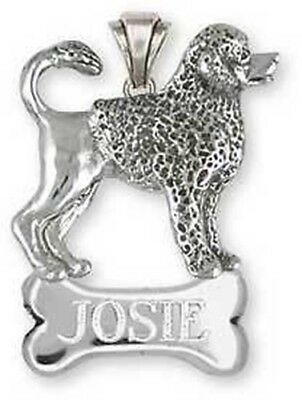 Personalized Sterling Silver Portuguese Water Dog Pendant Jewelry - PWD4NP