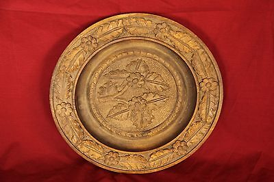 Circa 1840's Ornate Large Antique Hand Carved Wood Plate