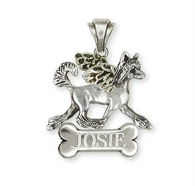Personalized Chinese Crested Angel Dog Charms Jewelry Silver- CC5A-NC
