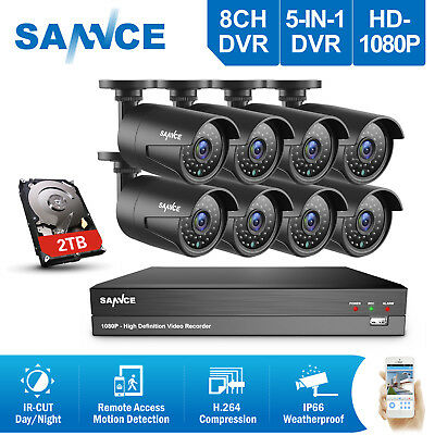 SANNCE 1080P Video 8CH AHD DVR IR Night Vision IR Home Security Camera System 2T
