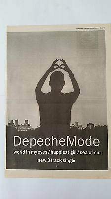 """Depeche Mode """"world in my eyes Original 1990 NME Trade Press Advert Poster Size"""