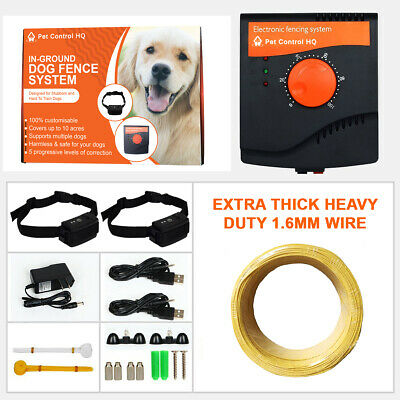 Waterproof Electric Dog Fence System Hidden Fencing 2 Collar Pet Containment New
