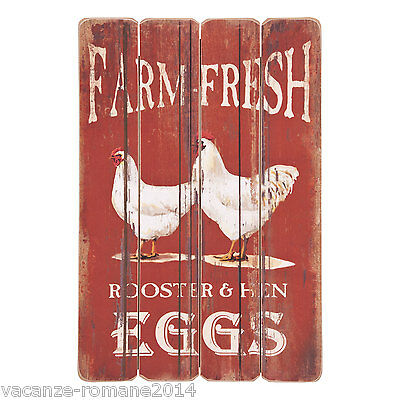 Holzbild Farm Fresh -Rooster and Hen - Eggs -60 cm x 40 cm -Bauernhof-