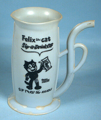 1960s Felix the Cat Sip-a-Drink Cup w/Built-in Straw Handle King Features Syn.