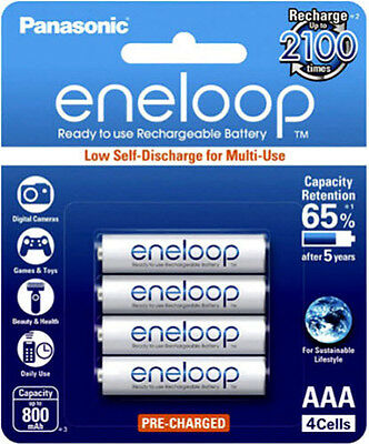 Panasonic Eneloop AAA 800mAh LSD NiMH Rechargeable Batteries 4pk -4th Generation