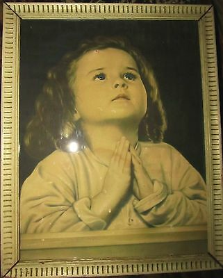 Vintage 1950 s Praying Girl Framed Picture Mooseheart Print Antique