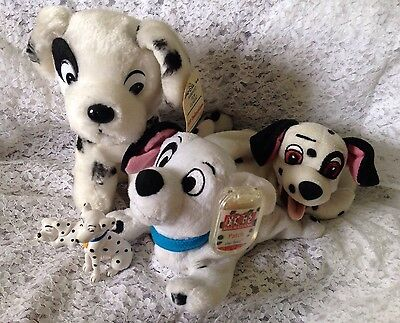 Vintage Disney 101 Dalmatians Plush Dolls And Two Figures. Very Cute!