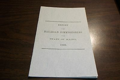 1860 State Of Maine Railroad Commissioners Report Reprint
