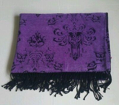 Disney Parks Purple Black Haunted Mansion Accent Throw Blanket Soft Black F