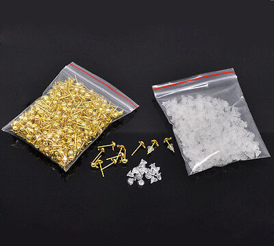 200Pcs Gold Plated Earring Posts With Stoppers Loop Jewelry Diy Findings 12mm