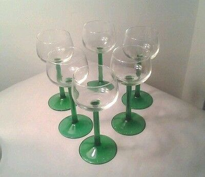 Set of 6 French Emerald Green Stem Crystal Wine Glasses Luminarc, Mint Condition