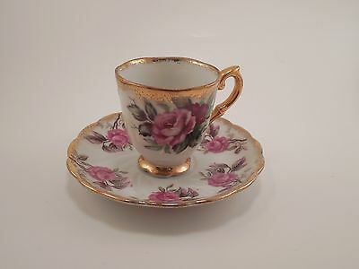 Napco China Footed Tea Demitasse Cup & Saucer Roses w/ Gold Trim 1DD159 Trimont
