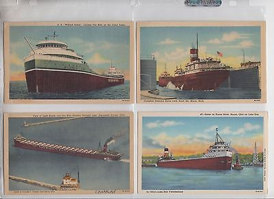 """Great Lakes Freighters: SIX  Especially Nice """"Linen"""" Postcards, FOUR Unmailed"""