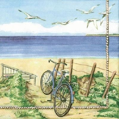 4 x Paper Napkins - Beach Bicycle - Ideal for Decoupage / Decopatch