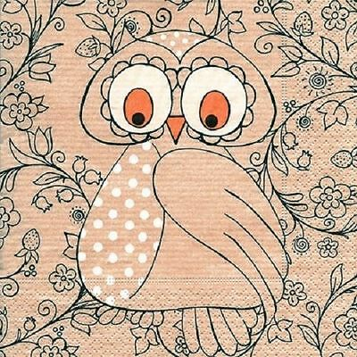 4 x Paper Napkins - Owl - Ideal for Decoupage / Decopatch