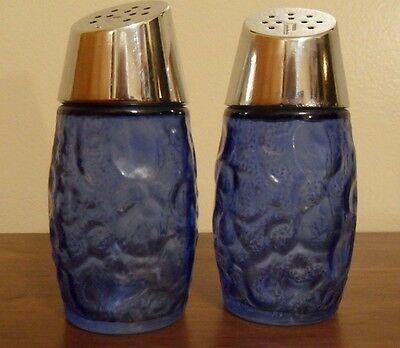 Pair of Vintage Westinghouse Blue Glass Salt & Pepper Shakers