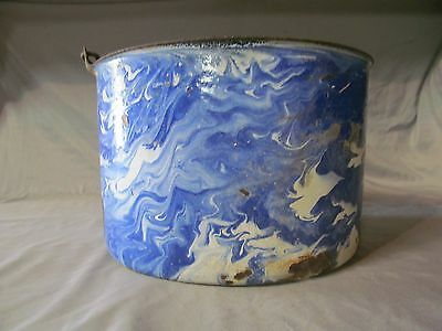 Blue-White Swirl Enamelware Pot with Handle