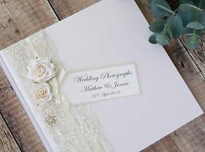 Personalised Wedding Photograph Album - Vintage Style Lace, Rose & Jewel Design.