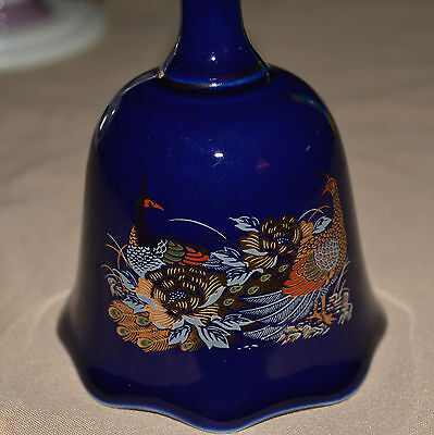 Blue Cobalt Peacock Collectors Bell accented in Gold w/Scalloped Bottom (M)