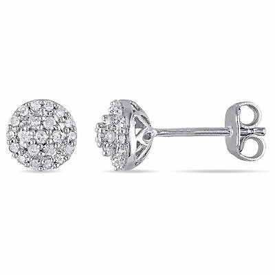 Amour Sterling Silver 1/4 ct TDW Diamond Halo Stud Earrings H-I I2-I3