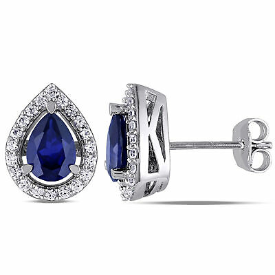 Amour Sterling Silver 2 3/4 CT TGW Created Blue and White Sapphire Stud Earrings