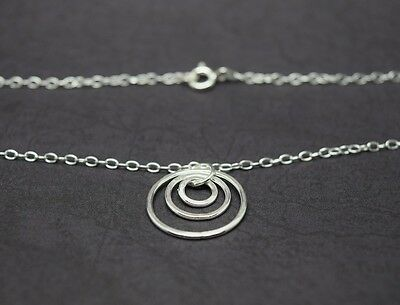 925 Sterling Silver Double Circle Necklace Choker 40cm 5cm Karma//Infinity Bag