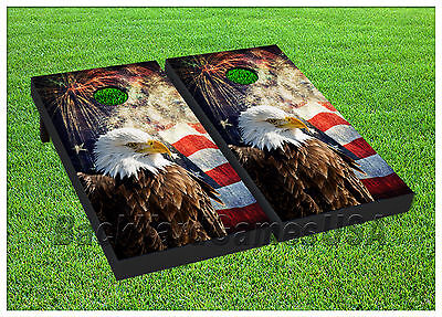 VINYL WRAPS Cornhole Boards DECALS USA Bald Eagle Bag Toss Game Stickers 224